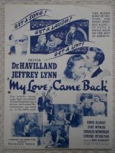 My Love Came Back, Flyer/Herald, Olivia De Havilland, Jeffrey Lynn, '40